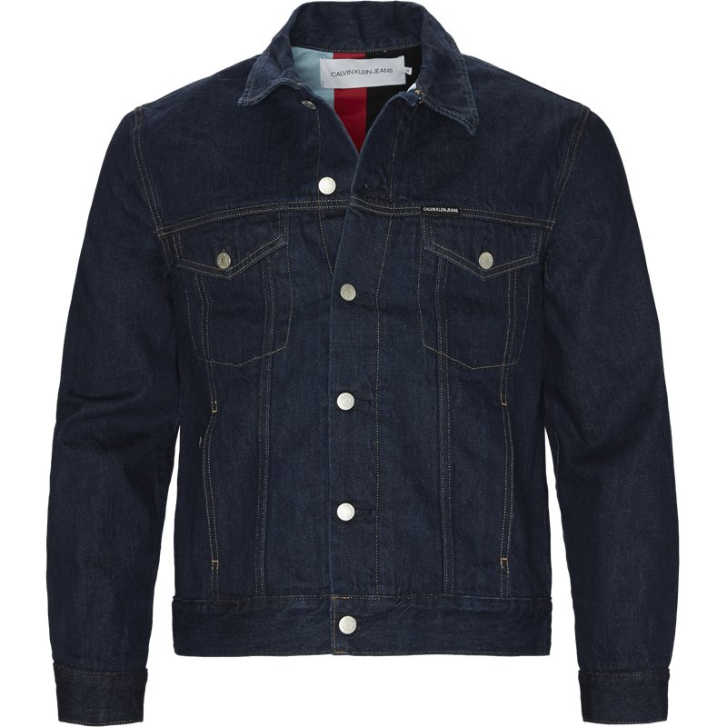 Calvin klein jeans regular fit j30j308170 iconic trucker jakker dark denim fra calvin klein jeans på axel.dk